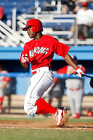 June 22, 2009:  Outfielder D'Marcus Ingram of the Batavia Muckdogs at bat during a game at Dwyer Stadium in Batavia, NY.  The Muckdogs are the NY-Penn League Short-Season Class-A affiliate of the St. Louis Cardinals.  Photo by:  Mike Janes/Four Seam Images