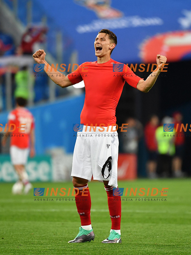 (180619) -- SAINT PETERSBURG, June 19, 2018 -- Ilya Kutepov of Russia celebrates victory after a Group A match between Russia and Egypt at the 2018 FIFA World Cup WM Weltmeisterschaft Fussball in Saint Petersburg, Russia, June 19, 2018. Russia won 3-1. ) (SP)RUSSIA-SAINT PETERSBURG-2018 WORLD CUP-GROUP A-RUSSIA VS EGYPT LixGa PUBLICATIONxNOTxINxCHN  <br /> Saint Petersburg 19-06-2018 Football FIFA World Cup Russia  2018 <br /> Russia - Egypt / Russia - Egitto <br /> Foto Imago/Insidefoto