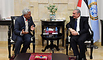 Palestinian Prime Minister Mohammad Ishtayeh, meets with the ambassador of Singapore, in the West Bank city of Ramallah on January 8, 2020. Photo by Prime Minister Office