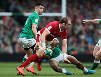8th February 2020; Aviva Stadium, Dublin, Leinster, Ireland; International Six Nations Rugby, Ireland versus Wales; Alun Wyn Jones (Captain Wales) prepares to offload as he is tackled by Bundee Aki (Ireland)