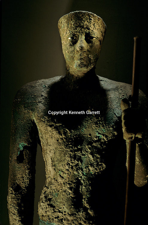 Statue of Pepi I, copper with inlaid eyes of limestone and obsidian,  from temple of Horus at Hierakonpolis, Old Kingdom.
