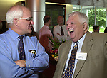 Jim Toedtman with Bob Greene at the Celebration of the 35th Anniversary of Newsday Investigations Team held in Newsday Auditorium in Melville on Thursday September 26, 2002. (Newsday photo by Jim Peppler).