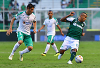 PALMASECA-COLOMBIA,09 -09-2018.Macnelly Tores (Der.) del Deportivo Cali disputa el balón con Pablo Lima (Izq.) de Equidad durante partido por la fecha 9 de la Liga Águila II 2018 jugado en el estadio Deportivo Cali de la ciudad de Palmira./ Macnelly Tores(R) player of Deportivo Cali  fights for the ball with Pablo Lima (L) of Equidad during the match for the date 9 of the Aguila League II 2018 played at Alfonso Lopez  stadium in Palmaseca city. Photo: VizzorImage/ Nelson Rios / Contribuidor