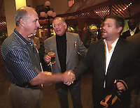 Former Green Bay Packers Max McGee and Jerry Kramer with filmmaker Ted Demme at the Lombardi Legends Reunion mixer at Lombardi's Steakhouse. Demme was working on a feature film about Lombardi's Packers but died several months after the reunion. McGee died in 2007.