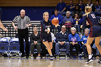 DURHAM, NC - NOVEMBER 29: Phoebe Sterba #33 of the University of Pennsylvania passes the ball during a game between Penn and Duke at Cameron Indoor Stadium on November 29, 2019 in Durham, North Carolina.