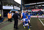The players emerge from the tunnel on to the pitch before Ipswich Town (in blue) play Oxford United in a SkyBet League One fixture at Portman Road. Both teams were in contention for promotion as the season entered its final months. The visitors won the match 1-0 through a 44th-minute Matty Taylor goal, watched by a crowd of 19,363.