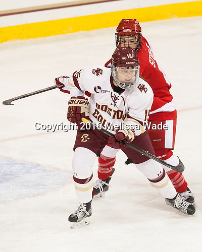 Erin Connolly (BC - 15), Sarah Steele (BU - 4) - The Boston College Eagles defeated the visiting Boston University Terriers 5-3 (EN) on Friday, November 4, 2016, at Kelley Rink in Conte Forum in Chestnut Hill, Massachusetts.The Boston College Eagles defeated the visiting Boston University Terriers 5-3 (EN) on Friday, November 4, 2016, at Kelley Rink in Conte Forum in Chestnut Hill, Massachusetts.