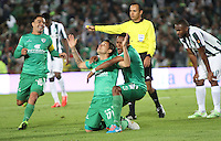 BOGOTA - COLOMBIA - 29-04-2015 :Roger Torres de La Equidad celebra su gol  contra el Atletico Nacional   durante partido  por la fecha 9 entre La Equidad y Atletico Nacional  de la Liga Aguila I-2015, en el estadio Nemesio Camacho El Campin  de la ciudad de Bogota. / Roger Torres   player of  La Equidad celebrates his goal against   to Atletico Nacional , during an  match of the 9 date between La Equidad and Atletico Nacional  for the Liga Aguila I -2015 at the Nemesio Camacho El Campin  Stadium in Bogota city, Photo: VizzorImage / Felipe Caicedo / Staff.