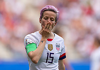REIMS,  - JUNE 24: Megan Rapinoe #15 reacts to a missed chance during a game between NT v Spain and  at Stade Auguste Delaune on June 24, 2019 in Reims, France.