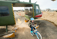 NWA Democrat-Gazette/BEN GOFF @NWABENGOFF<br /> Birdie Wallace, 6, of Rogers rides through the helicopter feature on the skills lines Saturday, Feb. 9, 2019, at the Runway Bike Park at the Jones Center in Springdale. The bike playground and pump track at the park opened in late September, but the skills lines were delayed in opening until today due to weather and drainage issues.