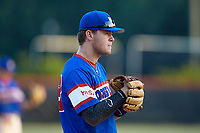 Mooresville Post 66 third baseman Gage Smith (13) on defense against Kannapolis Post 115 during an American Legion baseball game at Northwest Cabarrus High School on May 30, 2019 in Concord, North Carolina. Mooresville Post 66 defeated Kannapolis Post 115 4-3. (Brian Westerholt/Four Seam Images)