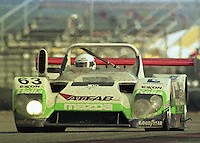 The #63 Kudzu DLM Mazda of Jim Downing, Butch Hamlet, Barry Waddell, and Tim McAdam races to 3rd place finish in  the 24 Hours of Daytona, IMSA race, Daytona International Speedway, Daytona Beach , FL, February 4, 1996.  (Photo by Brian Cleary/www.bcpix.com)