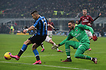 Alexis Sanchez of Inter lays off the ball to Matias Vecino to score and level the game at 2-2 during the Serie A match at Giuseppe Meazza, Milan. Picture date: 9th February 2020. Picture credit should read: Jonathan Moscrop/Sportimage
