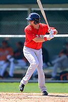 Boston Red Sox infielder Mark Hamilton #71 during a minor league Spring Training game against the Baltimore Orioles at Buck O'Neil Complex on March 25, 2013 in Sarasota, Florida.  (Mike Janes/Four Seam Images)