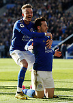 Ben Chilwell of Leicester City celebrates his goal against Chelsea with James Maddioson during the Premier League match at the King Power Stadium, Leicester. Picture date: 1st February 2020. Picture credit should read: Darren Staples/Sportimage