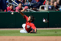 Washington Nationals shortstop Anthony Rendon #6 makes a stop behind third base during a Spring Training game against the Philadelphia Phillies at Bright House Field on March 6, 2013 in Clearwater, Florida.  Philadelphia defeated Washington 6-3.  (Mike Janes/Four Seam Images)