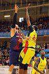 XXXVIII Lliga Nacional Catalana ACB 2017.<br /> FC Barcelona Lassa vs BC Morabanc Andorra: 89-70.<br /> Adrien Moerman vs Moussa Diagne.