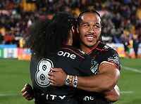 Agnatius Paasi hugs Bunty Afoa.<br /> NRL Premiership rugby league. Vodafone Warriors v St George Illawarra. Mt Smart Stadium, Auckland, New Zealand. Friday 20 April 2018. &copy; Copyright photo: Andrew Cornaga / www.Photosport.nz