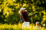 STILLWATER, OK - MAY 21:  Maddy Szeryk of Texas A&M tees off on the 18th during the Division I Women's Golf Individual Championship held at the Karsten Creek Golf Club on May 21, 2018 in Stillwater, Oklahoma. (Photo by Shane Bevel/NCAA Photos via Getty Images)