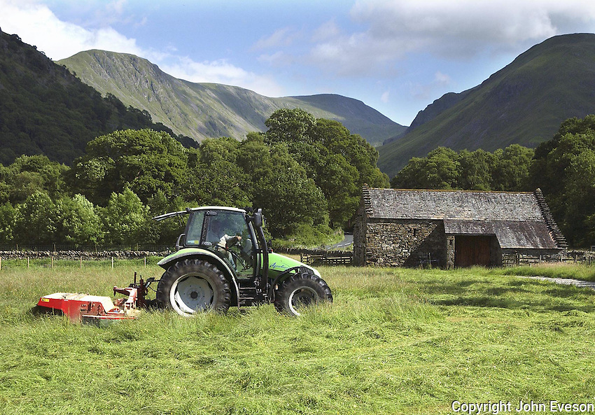 Farmer Eric Wear from Howe Green mowing 22 acres  of grass on neighbouring farmer Robin Taylforth's Beckstones Farm, Hartsop, Penrith, Cumbria. He will be back later to round bale the silage which will be fed to suckler cows and sheep.