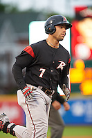 Richmond Flying Squirrels designated hitter Mac Williamson (7) runs the bases after hitting a home run during a game against the Erie Seawolves on May 19, 2015 at Jerry Uht Park in Erie, Pennsylvania.  Richmond defeated Erie 8-5.  (Mike Janes/Four Seam Images)