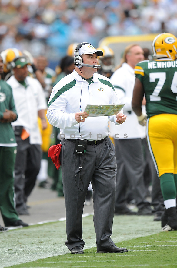 MIKE MCCARTHY, of the Green Bay Packers, in action during the Packers game against the Carolina Panthers on September 18, 2011 at Bank of America Stadium in Charlotte, NC. The Packers beat the Panthers 30-23.