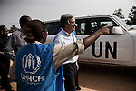 Arrivee d'Antonio Guterres au camp de Bahn au Liberia le 22 mars 2011 mars 2011 - Antonio Guterres arrives at Bahn refugee camp in Liberia on march 22 2011.