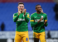 Preston North End's Alan Browne and Darnell Fisher applaud the fans at the end of the match <br /> <br /> Photographer Andrew Kearns/CameraSport<br /> <br /> The EFL Sky Bet Championship - Bolton Wanderers v Preston North End - Saturday 9th February 2019 - University of Bolton Stadium - Bolton<br /> <br /> World Copyright &copy; 2019 CameraSport. All rights reserved. 43 Linden Ave. Countesthorpe. Leicester. England. LE8 5PG - Tel: +44 (0) 116 277 4147 - admin@camerasport.com - www.camerasport.com