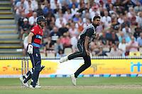 New Zealand's Ish Sodhi bowling. New Zealand Blackcaps v England. Tri-Series International Twenty20 cricket. Seddon Park, Hamilton, New Zealand on Sunday 18 February 2018.<br /> <br /> Copyright photo: &copy; Bruce Lim / www.photosport.nz