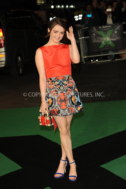 WWW.ACEPIXS.COM<br /> <br /> October 22 2015, New York City<br /> <br /> Maisie Williams attends the World Premiere of 'Jumpers For Goalposts' at Odeon Leicester Square on October 22, 2015 in London, England.<br /> <br /> By Line: Famous/ACE Pictures<br /> <br /> <br /> ACE Pictures, Inc.<br /> tel: 646 769 0430<br /> Email: info@acepixs.com<br /> www.acepixs.com