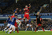 2nd December 2017, Goodison Park, Liverpool, England; EPL Premier League football, Everton versus Huddersfield Town; Laurent Depoitre leaps to clear an Everton corner as Mason Holgate of Everton challenges