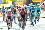 Rigoberto Uran (COL) EF Education First and Egan Bernal (COL) Team Ineos cross the finish line at the end of Stage 1 of the 2019 Tour de France running 194.5km from Brussels to Brussels, Belgium. 6th July 2019.<br /> Picture: Colin Flockton | Cyclefile<br /> All photos usage must carry mandatory copyright credit (© Cyclefile | Colin Flockton)