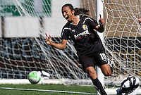 Marta of Gold Pride celebrates after scoring a goal during the second half of the game against Freedom at Pioneer Stadium in Hayward, California.  Gold Pride defeated Washington Freedom, 3-2.