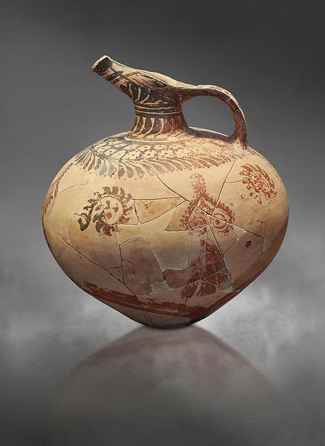 Mycenaean clay jug with ornate decoration of vegetal motifs, Tholos tomb 2 , Myrsinochori, Messenia, 15th cent BC. National Archaeological Museum Athens. Cat No 8375. Grey art Background