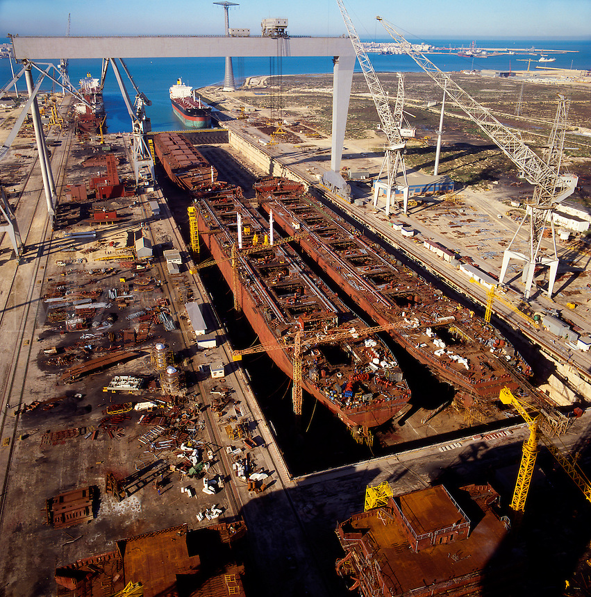 Ship building dry dock.  Cadiz, Spain.  Modular construction of oil tankers and bulkers..