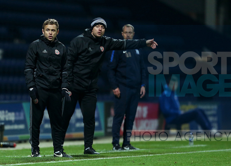 Del Geary and Travis Binnion of Sheffield United coaching staff during the FA Youth Cup 3rd Round match at Deepdale Stadium, Preston. Picture date: November 30th, 2016. Pic Matt McNulty/Sportimage