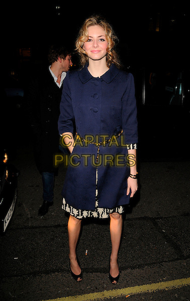 TAMSIN EGERTON.Attends Kate Reardon's Book Launch Party at Claridge's Hotel, London, England, January 28th 2008..full length navy blue coat black peep-toe shoes belt hand in pocket.CAP/CAN.©Can Nguyen/Capital Pictures