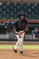 AZL Giants Black left fielder Kwan Adkins (8) hits a home run during an Arizona League game against the AZL Rangers at Scottsdale Stadium on August 4, 2018 in Scottsdale, Arizona. The AZL Giants Black defeated the AZL Rangers by a score of 6-3 in the second game of a doubleheader. (Zachary Lucy/Four Seam Images)