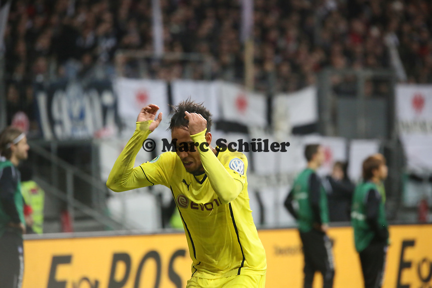 Torjubel Pierre Emerick Aubameyang (BVB) beim 0:1 - Eintracht Frankfurt vs. Borussia Dortmund, DFB-Pokal Viertelfinale