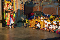 Bali, Indonesia.  Performance of a Traditional Story as Part of a Ceremony Praying for a Bountiful Rice Harvest.  Gamelan Orchestra on Right.  Pura Dalem Temple, Dlod Blungbang Village.