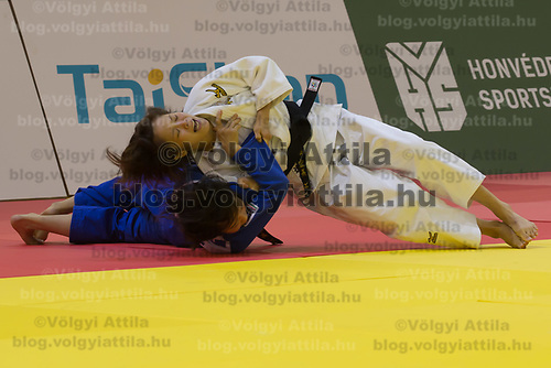Hiromi Endo (top) of Japan and Tamami Yamazaki (bottom) of Japan fight during the Women -48 kg category at the Judo Grand Prix Budapest 2018 international judo tournament held in Budapest, Hungary on Aug. 10, 2018. ATTILA VOLGYI