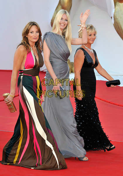 "CLAUDIA SCHIFFER.""Burn After Reading"" film premiere, and opening ceremony..65th Venice Film Festival..Venice, Italy 27th August 2008 .full length grey gray dress long maxi grecian tall clutch bag hand waving .CAP/PL.© Phil Loftus/Capital Pictures"