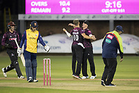 Max Waller of Somerset CCC celebrates the wicket of Harmer  during Essex Eagles vs Somerset, Vitality Blast T20 Cricket at The Cloudfm County Ground on 7th August 2019