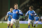 Hibs v St Johnstone.....11.02.13      SPL.Paddy Cregg celebrates his goal.Picture by Graeme Hart..Copyright Perthshire Picture Agency.Tel: 01738 623350  Mobile: 07990 594431