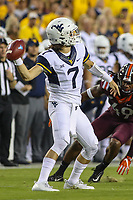 Landover, MD - September 3, 2017: West Virginia Mountaineers quarterback Will Grier (7) throws a pass during game between Virginia Tech and WVA at  FedEx Field in Landover, MD.  (Photo by Elliott Brown/Media Images International)