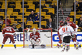 Colin Blackwell (Harvard - 63), Steve Michalek (Harvard - 34), Robbie Vrolyk (Northeastern - 91), Ryan Grimshaw (Harvard - 6), Patrick McNally (Harvard - 8), Alex Tuckerman (Northeastern - 27) - The Harvard University Crimson defeated the Northeastern University Huskies 3-2 in the 2012 Beanpot consolation game on Monday, February 13, 2012, at TD Garden in Boston, Massachusetts.