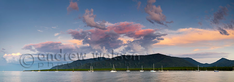 View across Trinity Inlet at dusk.  Cairns, Queensland, Australia