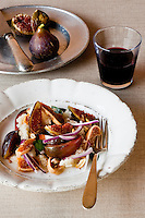 Panzanella, a typical Italian salad served with chunky bread crumbs here reinterpreted with fresh and dried figs