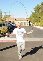 LAS VEGAS, NV - December 8:  Jesus ?Half Animal? Villa Guinness World Record attempt running 310 miles on spring-loaded stilts for ?The Longest Journey? between Las Vegas and Los Angeles from December 8 thru 18 starting on December 8, 2012 in Las Vegas, Nevada.  Credit: Kabik/ Starlitepics/MediaPunch Inc. /NortePhoto