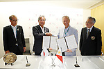 (L-R)  JOC Tsunekazu Takeda, Jose Cujuangco, AUGUST 15, 2016 : Japan Olympic Association hold <br /> Signing ceremony and press conference at the Japan House in Rio de Janeiro, Brazil.  Philippines NOC became partnership for Japan Olympic Association. (Photo by Yusuke Nakanishi/AFLO SPORT)
